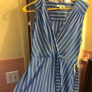 Wrap front blue striped Monteau dress